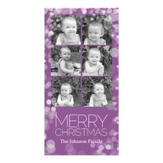 Modern Merry Christmas Orchid Bokeh Personalized Card