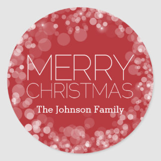 Modern Merry Christmas Red Bokeh Personalised Classic Round Sticker