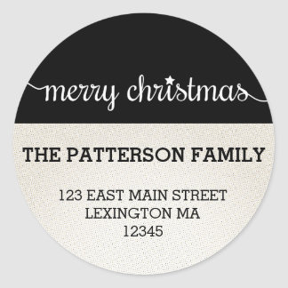 Modern Merry Christmas Round Address Label Round Stickers