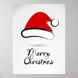 Modern Merry Christmas Santa Hat Poster Sign