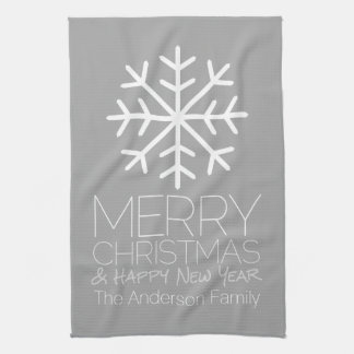 Modern Merry Christmas Snowflake - silver gray Tea Towel