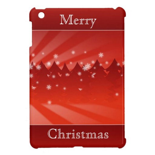 Modern Merry Christmas Trees Winter Snowflakes Red Case For The iPad Mini