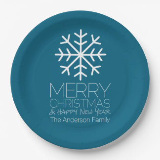 Modern Merry Christmas Winter Snowflake - blue 9 Inch Paper Plate