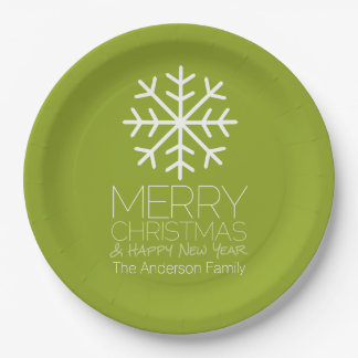 Modern Merry Christmas Winter Snowflake - green Paper Plate