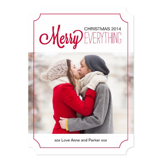 Modern Merry Everything Christmas Photo Cards