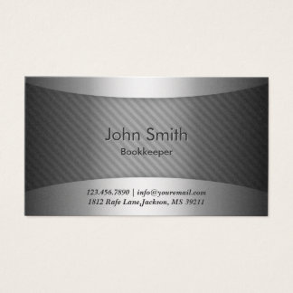 Modern Metal Stripes Bookkeeper Business Card