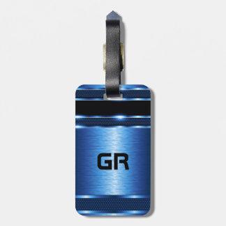 Modern Metallic Blue Geometric Design Luggage Tag