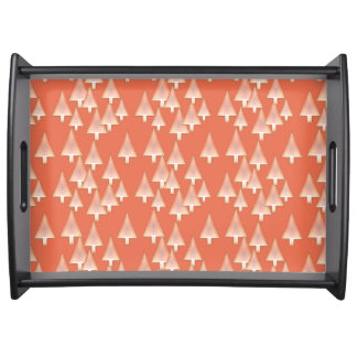 Modern metallic Christmas trees - copper & rust Serving Tray