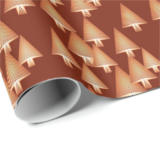 Modern metallic Christmas trees - copper Wrapping Paper