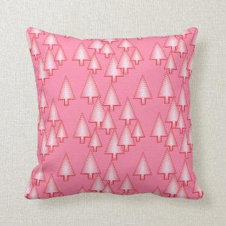 Modern metallic Christmas trees - coral pink Throw Pillows