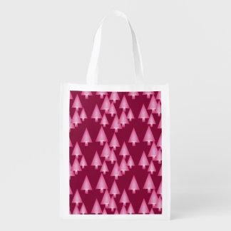 Modern metallic Christmas trees - pink & wine Reusable Grocery Bag