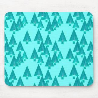 Modern metallic Christmas trees - turquoise Mousepads