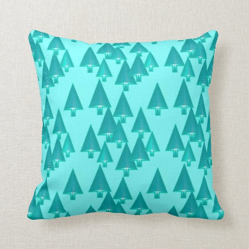 Modern Christmas Pillow : Modern metallic Christmas trees - turquoise Pillow Zazzle