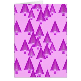 Modern metallic Christmas trees - violet Cards