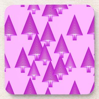 Modern metallic Christmas trees - violet Coasters