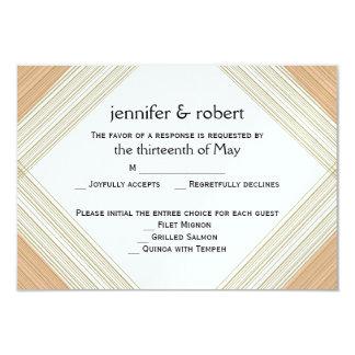 Modern Metallic Gold Hatch Wedding Response Card 9 Cm X 13 Cm Invitation Card
