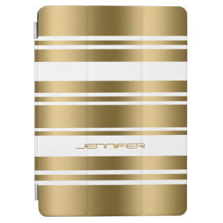 Modern Metallic Gold & White Stripes Pattern iPad Air Cover