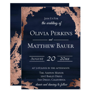 Modern Metallic Moody Blue Wedding Invitation