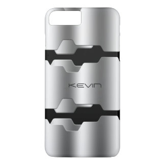 Modern Metallic Silver & Black Geometric Design iPhone 8 Plus/7 Plus Case
