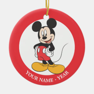 Modern Mickey   Side Hands on Hips Add Your Name Ceramic Ornament
