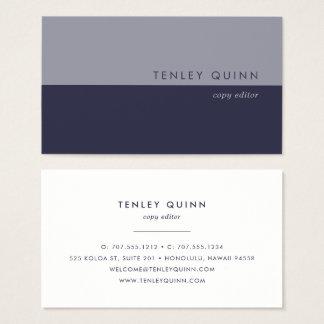 Modern Midnight Blue Colorblock Business Card