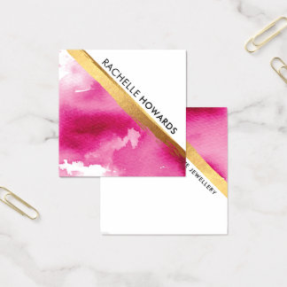 MODERN MINIMAL ANGLE pink watercolor gold brush Square Business Card