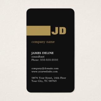 Modern Minimal Dark Grey Gold Monogram Consultant Business Card