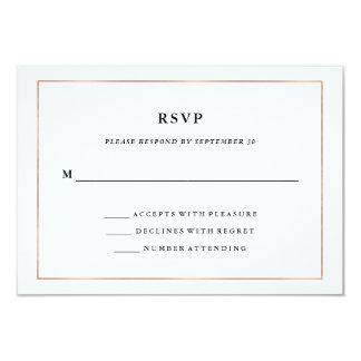 Modern Minimal | Faux Rose Gold Border RSVP 9 Cm X 13 Cm Invitation Card