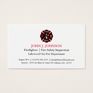 Modern Minimal Firefighter | Fire Inspector White Business Card