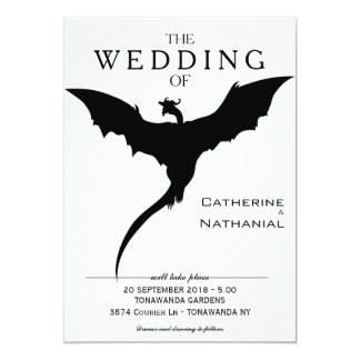 Modern Minimal Mediaeval Dragon Wedding Invitation