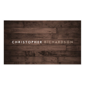 MODERN & MINIMAL on RUSTIC BROWN WOOD Pack Of Standard Business Cards