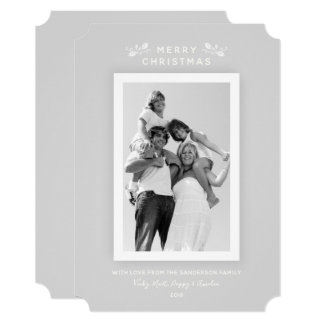 Modern Minimal Pale Gray and White Christmas Photo Card