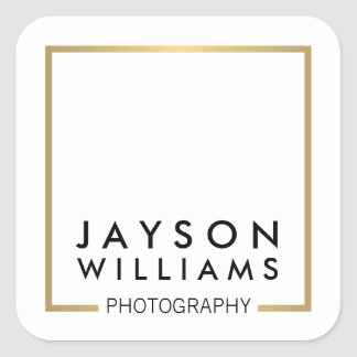 Modern Minimal Photographer Gold Square Logo I Square Sticker