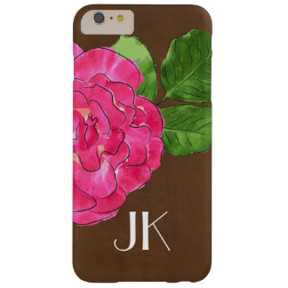 MODERN MINIMAL PINK FLORAL BROWN LEATHER MONOGRAM BARELY THERE iPhone 6 PLUS CASE