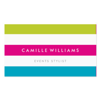 MODERN MINIMAL wide stripe pattern bright colorful Business Card Template
