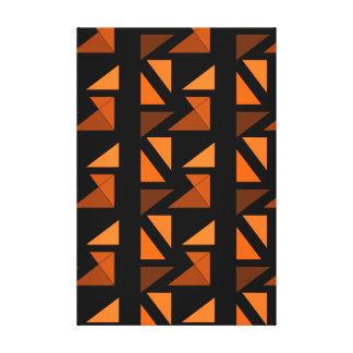 Modern Minimalism Art Decor Geometric Orange Black Gallery Wrap Canvas