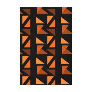 Modern Minimalism Art Decor Geometric Orange Black Gallery Wrapped Canvas