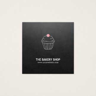 Modern Minimalist Black Cupcake Pink Candy Baker Square Business Card