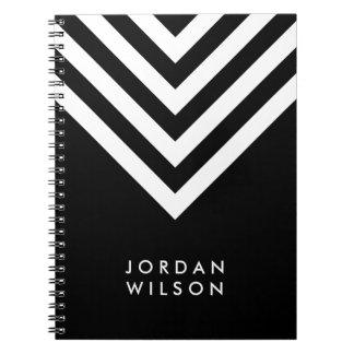 Modern Minimalist Black with White Chevron Notebook