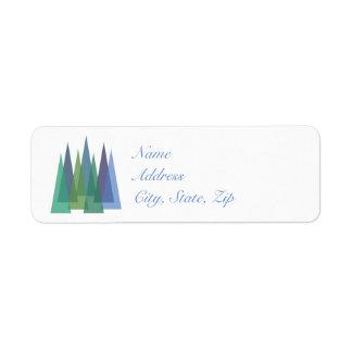 Modern Minimalist Blue & Teal Pine Trees Return Address Label