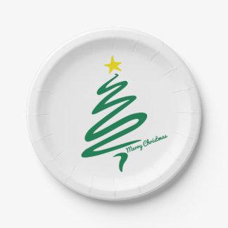 Modern Minimalist Christmas Tree Paper Plate
