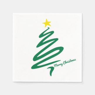 Modern & Minimalist Christmas Tree Swoosh Disposable Napkins