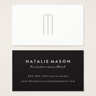 Modern Minimalist Monogram Grey on White Business Card