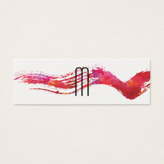 Modern Minimalist Monogram Watercolor brush Mini Business Card