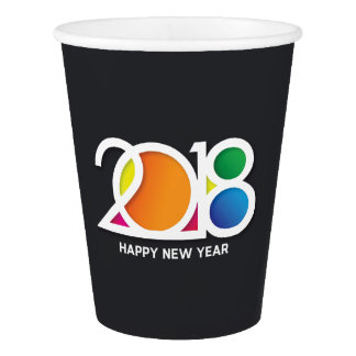 Modern Minimalist New Year's Party Celebration. Paper Cup