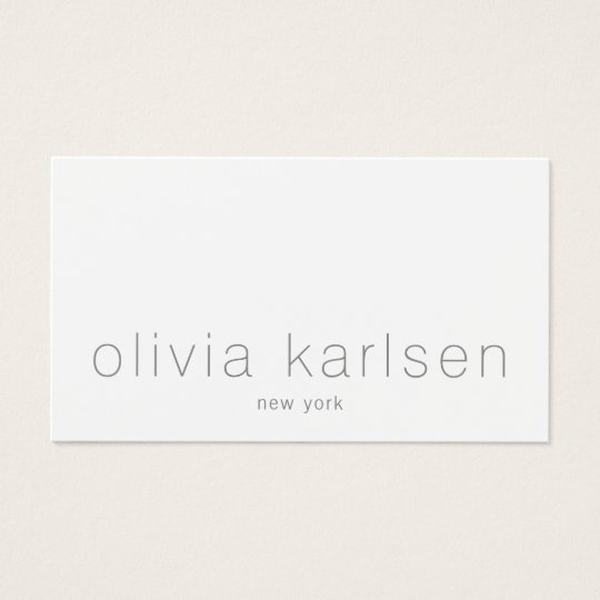 Modern Minimalist Professional White Business Card