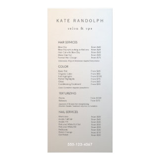Modern Minimalist Salon Price List Service Menu Personalised Rack Card