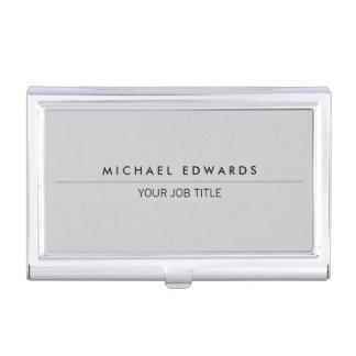 Modern minimalist simple professional light gray business card holder