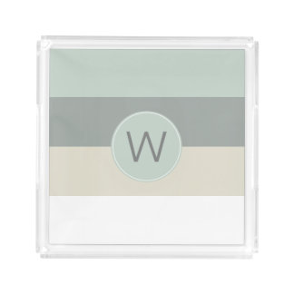 Modern Minimalist Stripes Pattern with Monogram Acrylic Tray