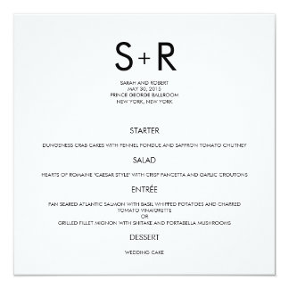 Modern Minimalist Wedding Menu Card